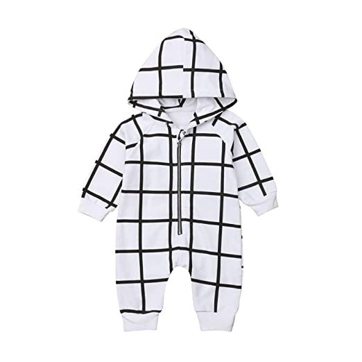 de9f237a71a Amazon.com  sportsmanship.lavendersite.top Newborn Infant Kid Baby Girl Boy Romper  Long Sleeve Hooded Striped Jumpsuit Clothes Outfits  Clothing