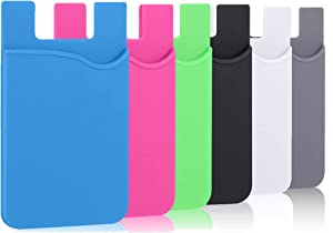 Tek Styz PRO Stick on Wallet Works for Dell XPS 13 9380 with Room for 3 Cards/ID/Money 5pack (Black,Gray,White,Blue,Green,Pink)