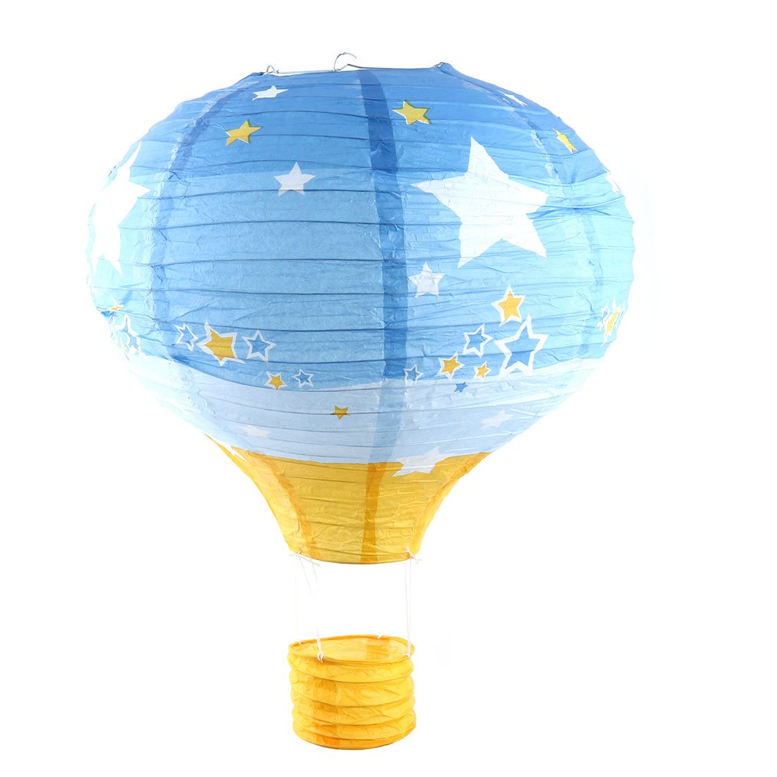 uxcell Paper Star Pattern Wedding Holiday DIY Room Hanging Lightless Hot Air Balloon Lantern 16 Inches Dia Blue