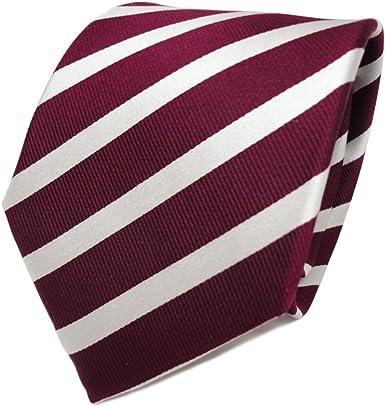 TigerTie diseñador corbata de seda - rojo burdeos plata rayas ...