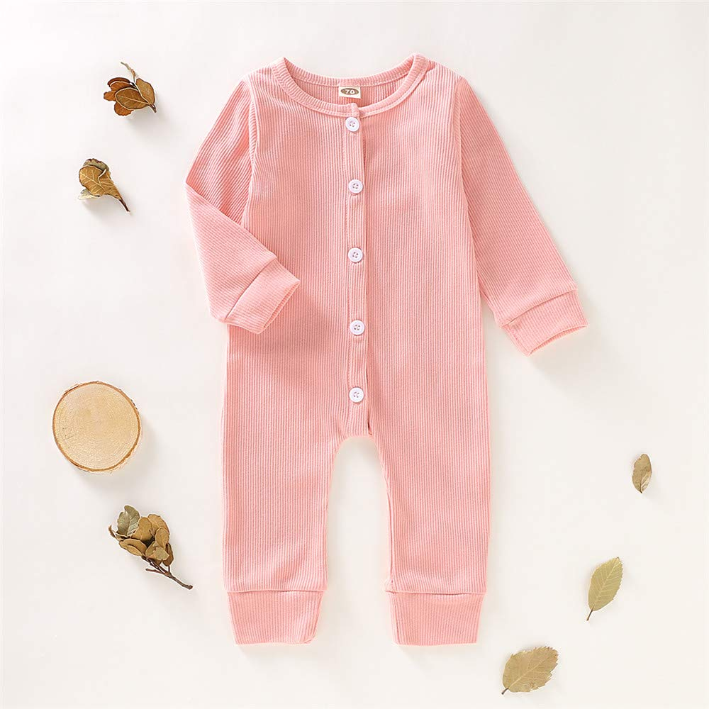 Mikrdoo Baby Girl Jumpsuit Long Sleeve One Piece Bodysuit Solid Color Button Romper Infant Fall Clothes Outfit