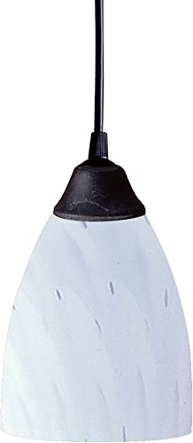 Elk 406-1WH 1-Light Pendant in Dark Rust and Simply White Glass