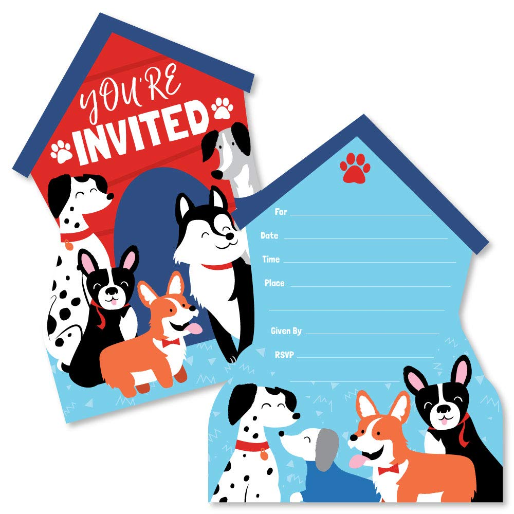 Set of 12 Pawty Like a Puppy Dog Baby Shower or Birthday Party Invitation Cards with Envelopes Shaped Fill-in Invitations