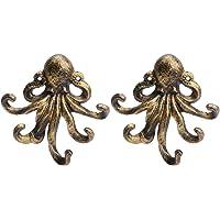 YARNOW 2 stks Octopus Decor Sleutelhouder Metalen Antieke Haak Retro Muur Hanger voor Thuis Badkamer Wandhanddoek Haak…