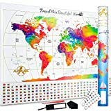 """Premium Scratch Off World Map -""""Rainbow Water Colours Edition"""" w Outlined Canadian Provinces & US States - Perfect Gift 7 PCS Bundle - The Ultimate Travel Large Size Poster w Canada & Gold Flags"""