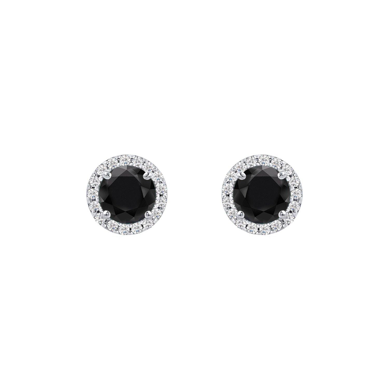1.11 Ct Diamond Scotch Jewelry Women 14k White Gold Over 5mm Round Black Cubic Zirconia Halo Stud Earrings for Women Girls