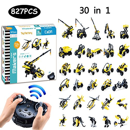 ng Set, 827pcs Blocks Toy Creative Learning and Educational Brick Assembly Toys, 2.4GHz Remote Control Funtions Inspiring Model DIY Toys, Great Gift for Kids by (Toy Factory) ()