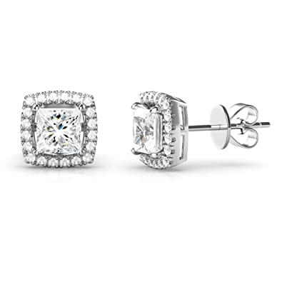 4897c00fcf4e Amazon.com  925 Sterling Silver Princess Cut CZ Cubic Zirconia Halo Earrings   Jewelry