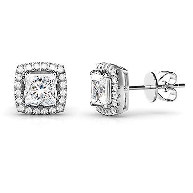 58309683e Amazon.com: 925 Sterling Silver Princess Cut CZ Cubic Zirconia Halo Earrings:  Jewelry