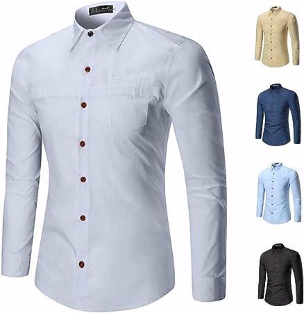 GK Hombre Camisa Moda Casual Camisa de Vestir Slim Fit Sau ...