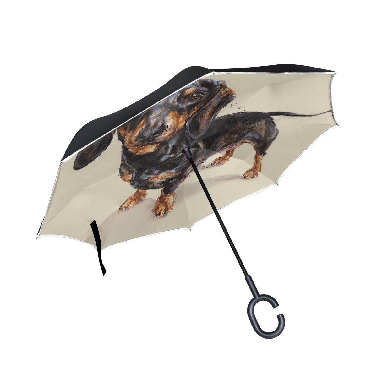 Alaza bassotto cane invertito ombrello doppio strato antivento Reverse ombrello pieghevole per auto con la maniglia a C