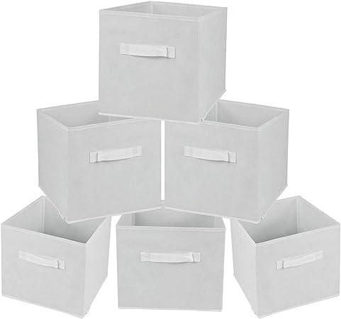 Rebecca Mobili Set de 6 Cajas de Almacenamiento Cubo Decorativa de Tela Plegable Blanco Casa Oficina Orden Armario Juguetes A 28 x AN 26,5 x FON 26,5 cm (Cod. RE6322): Amazon.es: Hogar