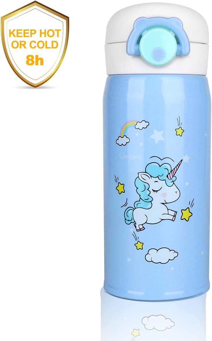 Outfun Kids Thermos Water Bottle, Unicorn Water Bottle, Stainless Steel Thermos for Girls, Thermal Vacuum Cups, Insulated Leak Proof Flask Gift for School Kids Girls BPA Free No Straw