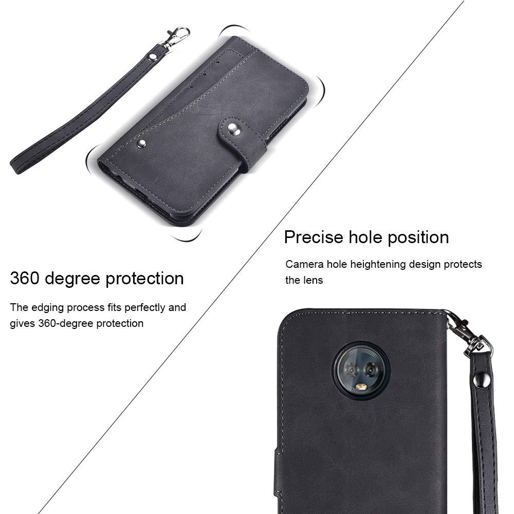 Moto G6 Plus Case,Moto G6 Plus Wallect Case, Flip Leather Case 5 Cards / 1 Photo Slot/Cash Pocket PU Cover with Wrist Strap [Wallet Stand] Phone Case for Moto G6 Plus (Black) by okasis (Image #7)