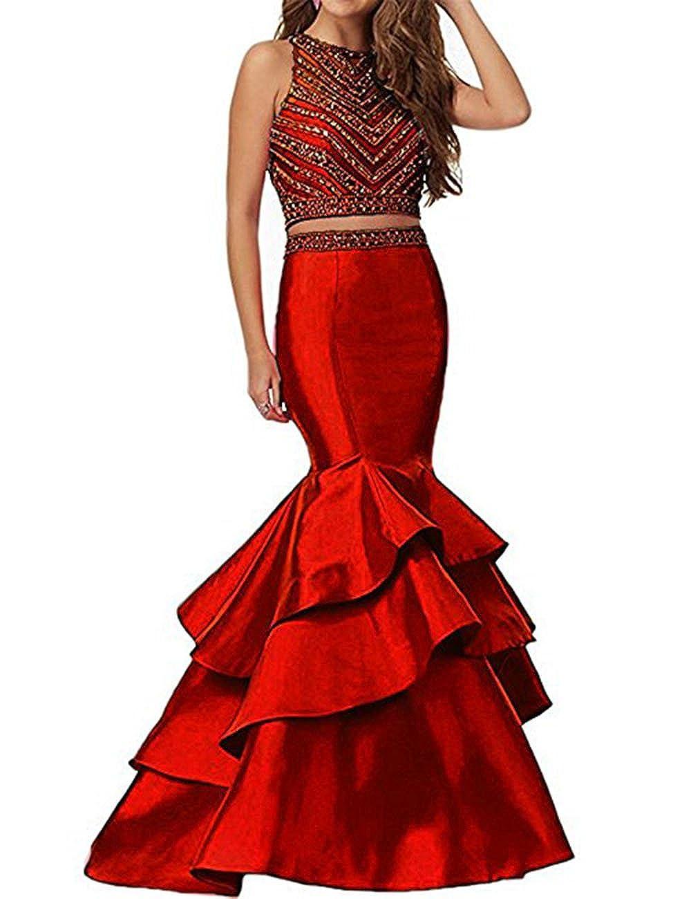 Burgundy Beautydress Women's Two Piece Mermaid Beaded Prom Party Dresses Formal Wear