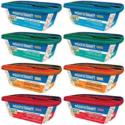 Natural Balance Grain Free Delectable Delights Dog Food Stew in 4 Flavors - Gobbler Cobbler, Bowl 'O Burgundy, Pawpaya Pilaf, & Fetchin' Catchin's - 8 Tubs Total (8 Ounces Each)