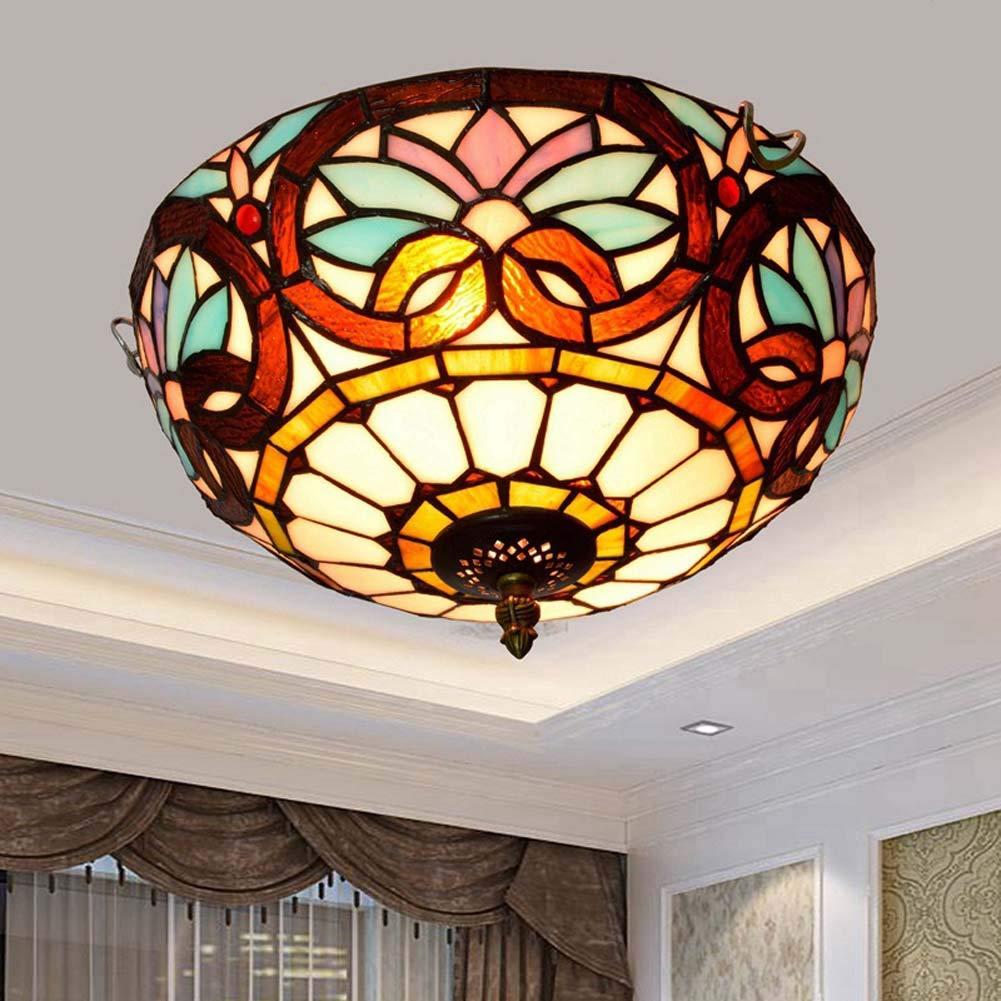 ティファニースタイルステンドグラスの天井灯、リビングルームの寝室通路の浴室のための創造的なバロック様式の天井ランプ、E27、最大40W * 2 B07T42DH4W