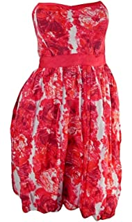 River Island Dark Pink Floral Print Strapless Dress with Boned Bodice & Full Skirt