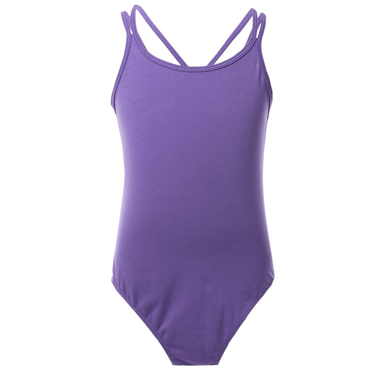 inhzoy Teen Kids Girls Criss Cross Back Camisole Leotard Cotton Basic Sport Dance Undershirts