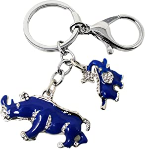 Feng Shui Blue Rhinoceros and Elephant Protection Keychain Charm Amulet Handbag Hanging (W1041)