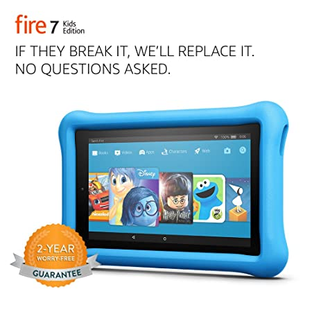 """Review Fire 7 Kids Edition Tablet, 7"""" Display, 16 GB, Blue Kid-Proof Case"""