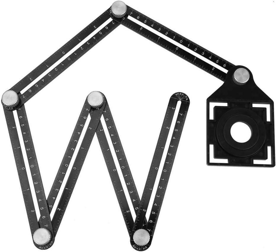 Universal Hole Puncher for Mud Tile Carpentry Aluminum Alloy Six-Fold Ruler Positioning Hole Tool Tile Hole Locator