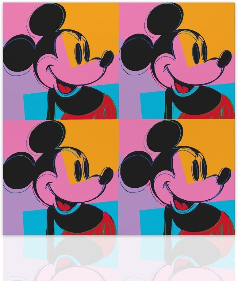 Cuadro decorativo de pared con diseño de ratón de Mickey Mouse - Cuadro colorido acabado en los lados listo para colgar