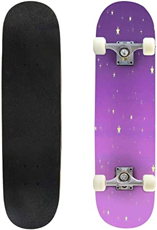 Classic Concave Skateboard Vibrant Pixel Sky Longboard Maple Deck Extreme Sports and Outdoors Double Kick Trick for Beginners and Professionals