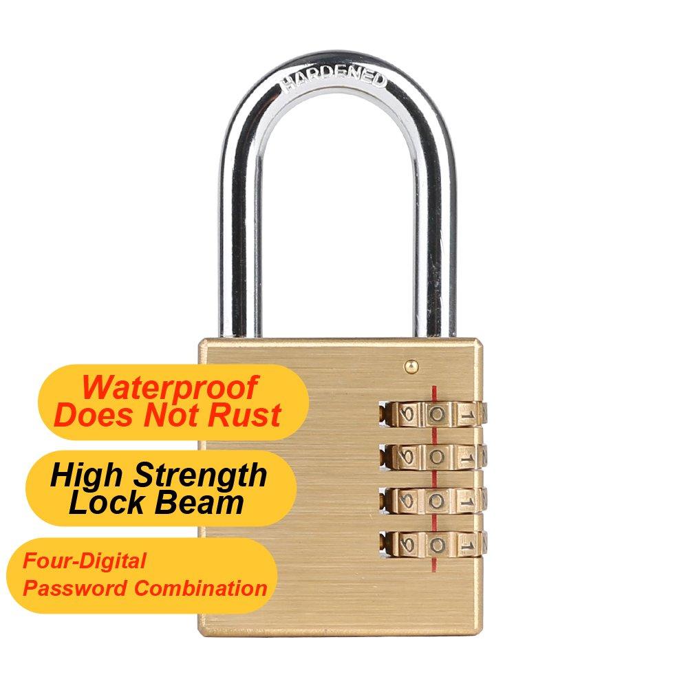 CASACLAUSI Lock,Weatherproof Combination Locks,for Outdoor and Indoor,Padlock,Brass Large Combination Padlock,2 inch Wide