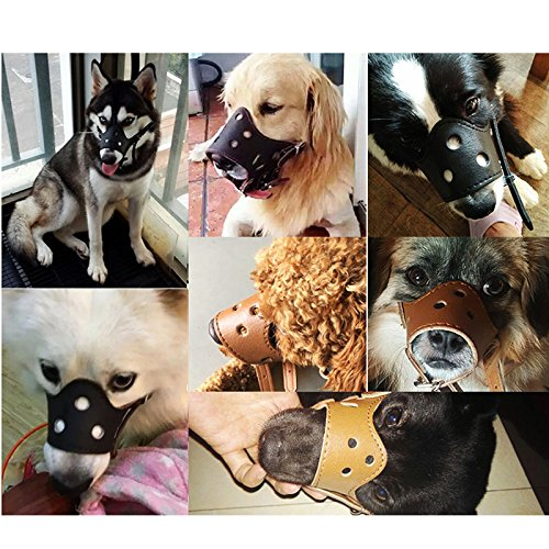 Ennc Pet Muzzles Adjustable Anti-biting Leather Dog Muzzle Flexible Leather Breathable Safety Pet Dog Muzzles Mask for Biting and Barking Lightweight and Durable for Dogs Puppy by Ennc (Image #5)'