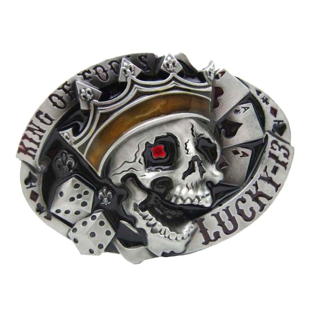 Sharplace Hebilla de Cinturón de Hombre Gorma Ovalada Patrón de Calavera Estilo Vaquero Occidental Vintaje