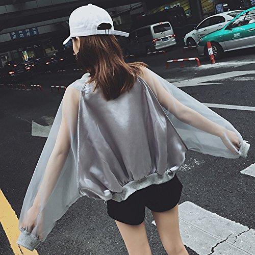 QFFL fangshaifu ファッション夏ネット糸スプライス日保護服/学生ルース屋外サンショール/通気性女性クリエイティブ空調カーディガン (色 : B, サイズ さいず : L l)