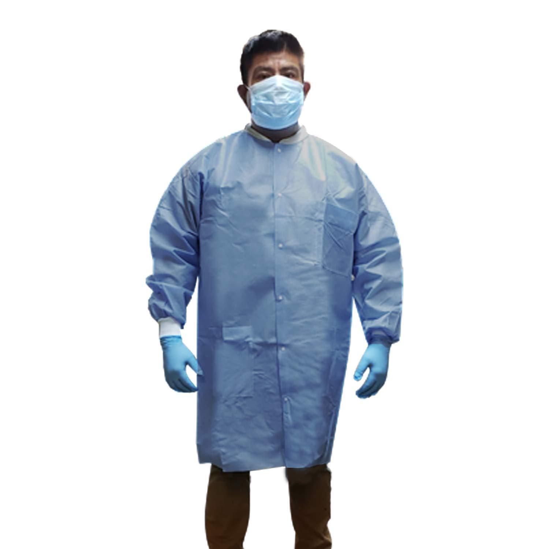 Extra-Safe Ceil Blue, Thigh Length Disposable SMS 3 Pocket Lab Jacket Elastic Knit Wrist /& Collar 30, Large