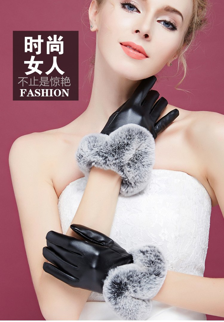 Generic glove gloves women girls winter _touch_screen_cycling_ autumn winter _thick_warm_ lovely students _Korean_style the hair of plush_ leather glove gloves