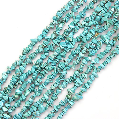 JARTC Natural Irregular Broken Turquoise Chip 6-8mm 15 Inch Agate Crystal Chip for Jewelry Making DIY Bracelet Necklace Accessory