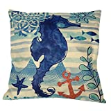 """Monkeysell Mediterranean style Throw Pillow Cover,Cotton linen square decoration fashion the pillowcase - 18""""X18"""" (Hippocampal figure)"""