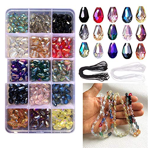 Dushi 8 x 12mm Glass Beads Kits 300 pcs DIY Teardrop Crystal Beads AB Colour Faceted Beads Set for Jewelry Making Center Drilled with Elastic Cord Storage ()