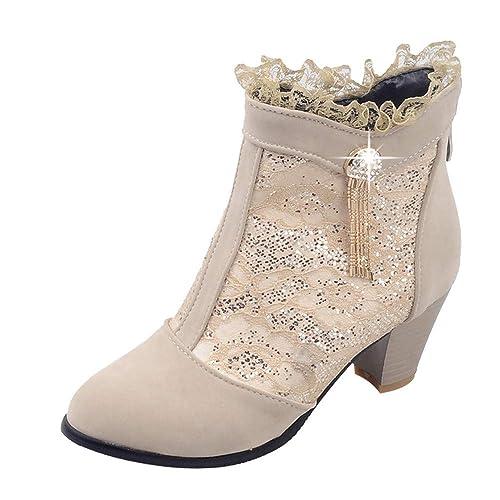 992a3c0df409b Botines Tacón Altas Ancho Cuña para Mujer Invierno Primavera 2019 PAOLIAN  Zapatos de Vestir Fiesta Elegante Botas Bajo Tobillo Altas Terciopelo con  Encaje ...