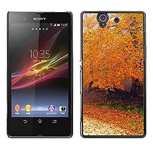 Be Good Phone Accessory // Dura Cáscara cubierta Protectora Caso Carcasa Funda de Protección para Sony Xperia Z L36H C6602 C6603 C6606 C6616 // Nature Autumn Tree