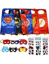 Superhero Dress Up Costumes 6 Satin Capes and 6 Felt Masks - Superhero Party Supplies