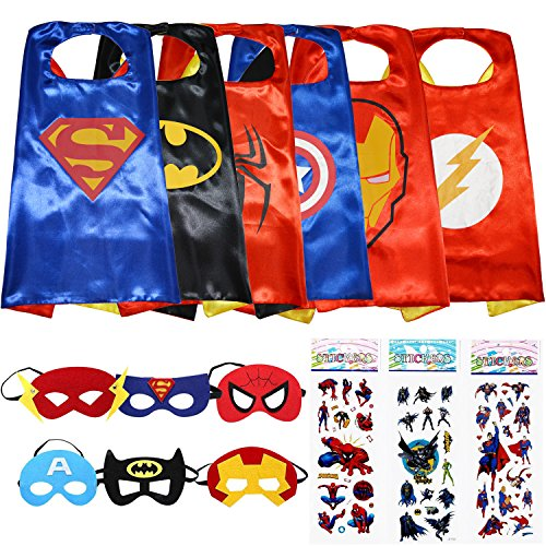 [Superhero Dress Up Costumes 6 Satin Capes and 6 Felt Masks - Superhero Party Supplies] (Hero Costumes For Men)