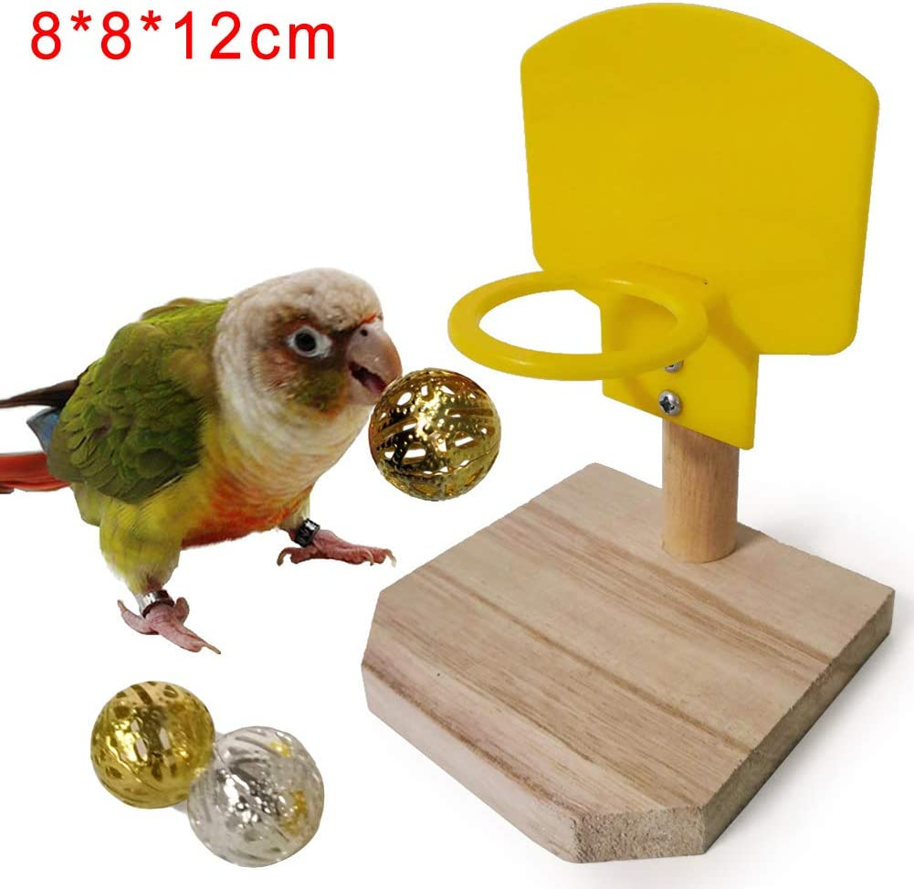 KaariFirefly Pet Bird Toy Wooden Parrot Parakeet Hanging Mirror Playing Toy Cage with Stand Perch