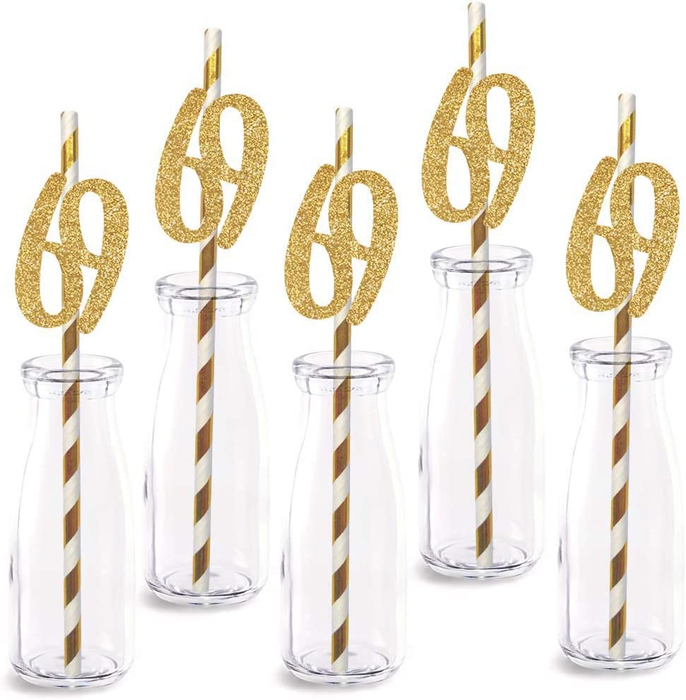 69th Birthday Paper Straw Decor, 24-Pack Real Gold Glitter Cut-Out Numbers Happy 69 Years Party Decorative Straws