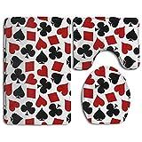 Usieis Poker Non-Slip Toilet Rug Sets 3 Pcs Bathroom Mats Rug Lid Toilet Cover