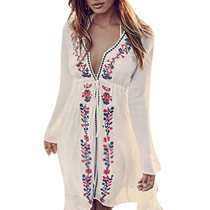 963a0a1aa7 Women's Embroidery Cover Up Bohemia Vintage V-Neck Smock Sexy Long Sleeve  Knee Long Maxi