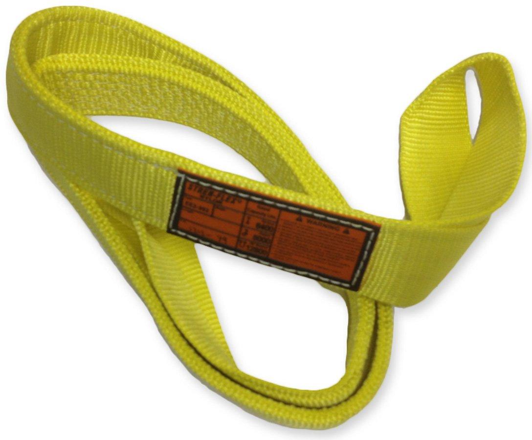 18,000 lbs Vertical Load Capacity 4 Ply Yellow 3/' Length x 3 Width Stren Flex 3 Length x 3 Width Stren-Flex EET4-903-3 Type 4 Heavy Duty Nylon Twisted Eye and Eye Web Sling