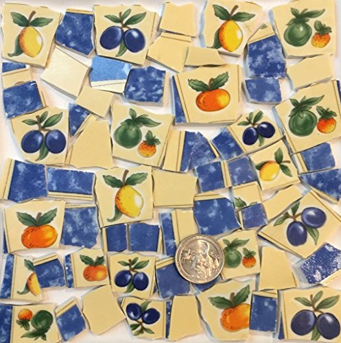 Mosaic Tile Art Supply for Mosaics & Crafts ~ Fruit Tiles with Oranges Plums Apples Lemons (T#557)
