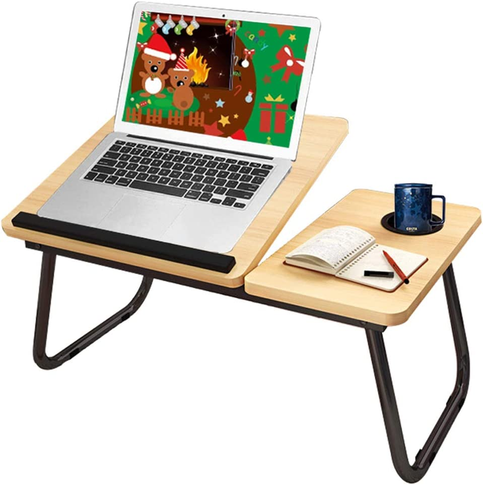 Laptop Desk for Bed,Asltoy Laptop Bed Tray Table,Foldable Lap Desk Stand Notebook Desk Adjustable Laptop Table for Bed Portable Notebook Bed Tray Lap Tablet with Cup Holder (Khaki)