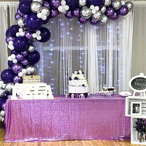 Lavender And Gold Wedding (B-COOL Rectangle Sequin Tablecloth Lavender 90inchX156inch Wedding Big Sequin Table Decorations Sparkly Table Cover Sequin Wedding Party)