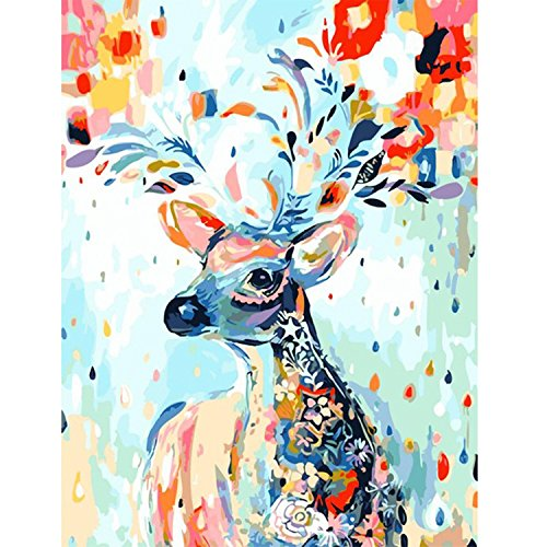 Frameless Pictures Painting by Numbers Hand Painted Canvas Cartoon Drawing DIY Oil Painting by Numbers 4050cm Colorful Deer